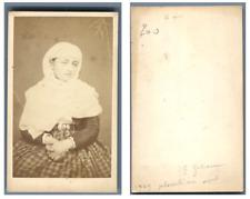 Plombière, portrait de femme CDV vintage albumen carte de visite  Tirage album