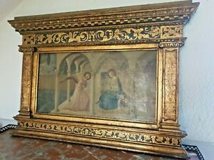 Antique Italian 19th Century Oil Painting on Canvas in Gilt Frame