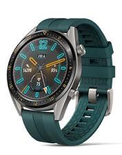 Huawei Watch GT Active 46 mm Caja de acero inoxidable en Titanium Gray y correa de fluoroelastómero en Dark Green