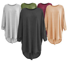M13 WOMEN LADIES FINE KNITTED MARL OVERSIZED BATWING DIP HEM PLUS SIZE DRESS TOP
