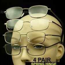 Reading men women glasses spring hinge 4 pair metal frame lens  pack power lot