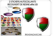 2 X STICKERS COVERED WITH RESINATED WINE BLAZON 3D 60 mm X 50 mm MADAGASCAR
