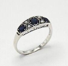 Saphir Ring Saphire & Perlen  925 Sterling Silber  ANTIK STYLE   Ø 18.1 mm