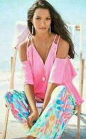 LILLY PULITZER NWT NEW Bellamie Top Tiki Pink Cold Shoulder XS $118