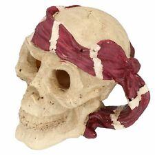 Medium Aquatic Aquarium Red Pirate Skull Head Fish Tank Ornament 9x13x14cm