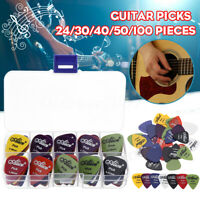 24-100pcs Acoustic Electric Guitar Picks Plectrums+1 Plastic Picks Box Case