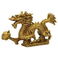 11CM Brass Dragons China Zodiac Statue Feng Shui Wealth Lucky Retro Decor Chic