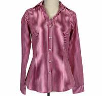Ben Sherman Womens Pink Striped Long Sleeve Button Up Blouse Size XS/8