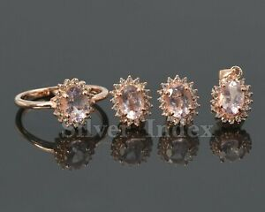 7X5MM Natural Morganite 925 Sterling Silver Pendent Ring Earring Jewelry Set