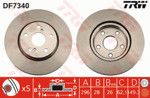 TRW Brake Rotor Front DF7340S fits Lexus IS IS250 (GSE20R), IS300h (AVE30R)