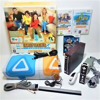 Nintendo Wii Console Custom Wrap Bundle with +Boxed Family Trainer Mat bep dance