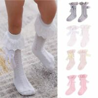 Girls Cotton Lace Bowknot Baby Knee High Socks Tights Stockings Kids Leg Warmer