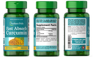 Puritan's Pride FAST ABSORB NOVASOL® CURCUMIN For Herbal Supplement x30 Softgels
