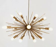 Mid Century Modern Handmade Brass Chandelier Sputnik Ceiling Starburst Light