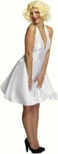 Marilyn Monroe fancy dress costume White Halterneck & White Wig one size 10-14