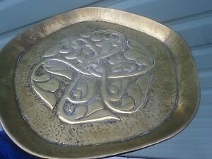 RARE Brass Arts & Crafts Iona Celtic Floral Dish Plaque c1910 Alexander Ritchie