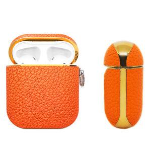 Apple AirPods Genuine Leather Case Orange Luxury Shockproof Cover - Feu