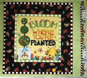 Mary Engelbreit Fabric Pillow Panel Bloom Where You're Planted Garden Quilt