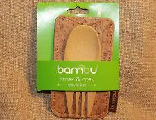 Bambu Bamboo Spork in Cork Lunch Box To-Go Utensils cutlery camping