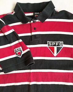 SAO PAULO SPFC BRAZIL Vintage Soccer Futebal Football Shirt Men L FC Striped São