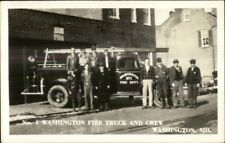 Washington MO Washington Fire Truck & Crew Real Photo Postcard