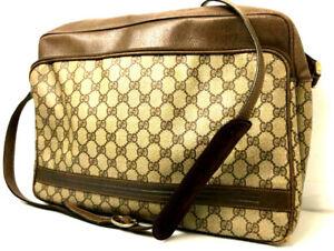 Gucci GG Monogram Handbag Purse Tote Bag Brown Crossbody Messenger Shoulder bag