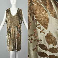 Small 2010s Silk Lined Velvet Dress Art Deco Inspired Pocket Draped Bronze Leaf
