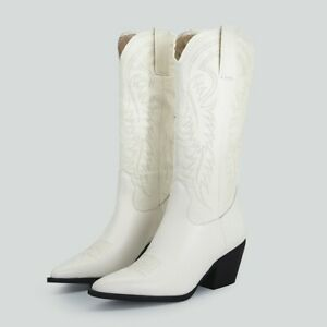 Women's Mid Calf Knee Boots Pull On Chunky Heel Pointy Toe Knight Shoes 42 43 L