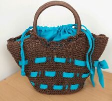 Pomegranate Dark Brown Straw Bag Blue Ribbon Wicker Tote Bucket Retro Boho