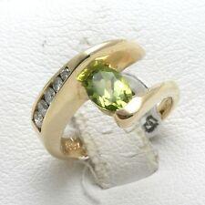 Vintage 14k Green Peridot & Diamond Ring 1 carat swirl Oval round Handmade