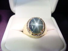 GREENISH BLUE GENUINE STAR SAPPHIRE 6.38 CTS 14K GOLD VINTAGE RING