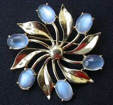 Fine Large Retro Antique Moonstone 14k Yellow Gold Pin - Bold - Lovely!
