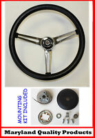 "New! 1961-1966 Chrysler Grant Black Steering Wheel 15"" Slotted Stainless Spokes"