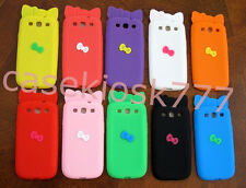 for samsung  galaxy S3 cute kitten kitty 3D bow case pink black purple/