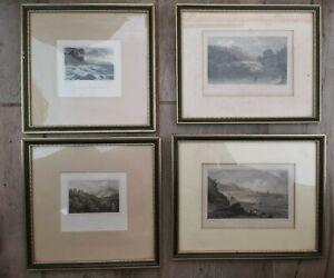 Antique/Vintage Job Lot of 4 Assorted Wooden Framed Prints. Old Black Hogarth