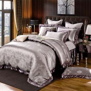 Luxury 4pc. 6pc.  Purple Jacquard Satin Cotton Wedding Duvet Cover Bed Set