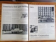 1962 Chrysler Gas Turbine Cars Ad Plymouth Fury Dodge Dart