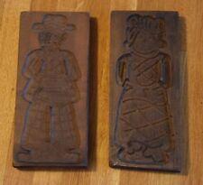 """Vintage Antique Primitive Wooden Cookie Molds Man Woman Large 11 3/4"""" Wood"""