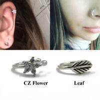 Non Pierced Clip On Leaf CZ Flower Ear Cartilage Earring Nose Hoop Ring Jewelry