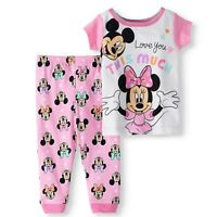 Disney Baby Girls Minnie Mouse Mickey Cotton Snug Fit Pajamas 2pc I Love You NWT