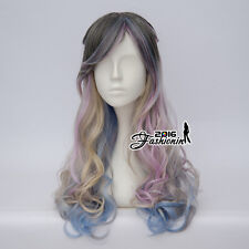 60CM Lolita Multi-Color Curly Braid Party Women Cosplay Wig Heat Resistant+Cap