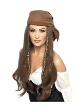Pirate Caribbean Buccaneer Wig With Bandana Adult Costume Accessory