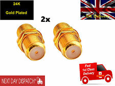 2 x Gold F81 Connector Female Adapter - F Plug Female joiner Aerial or Satellite