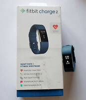 LARGE Fitbit Charge 2 Heart Rate Fitness Wristband in Retail Pkg - Blue - USED