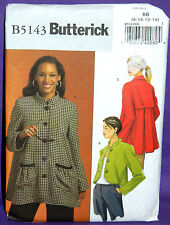 Uncut Butterick Sz 8-14 Loose Fitting Flared Front Button Jacket Pattern 5143