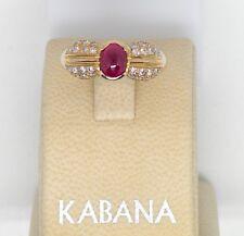 Authentic Kabana 14k Yellow Gold Ring Genuine Ruby Cab  Diamonds   Vintage  New