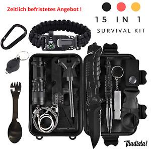 Survival Kit 15 in 1, Außen Notfall Survival Kit,Camping,Ihr Outdoor Abenteuer