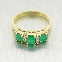 Vintage Estate 2.65ct Emerald & Diamond Band Wedding Ring 14k Yellow Gold Over