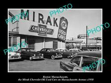 OLD POSTCARD SIZE PHOTO OF BOSTON MASSACHUSETTS MIRAK CHEVROLET CAR YARD c1950