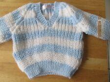 brand new hand knit childrens blue &white stripe sweater 0/3months